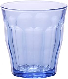 Duralex 1027BB06/6 Made in France Prisme Marine Glass Tumbler Drinking Glasses, 8.75 ounce - Set of 6, Marine Blue