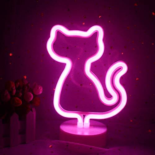 LED dekorative Katze Neonlicht mit Basis Katzenständer Halter rosa Licht USB/Batterie niedlichen Nachtzeichen für Kinderzimmer Mädchen Schlafzimmer Geburtstag Party Versorgung (rosa Katze)