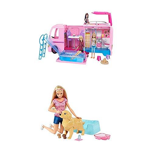 Barbie Mattel FBR34 - Super Abenteuer-Camper + Hundemama, Welpen und Puppe