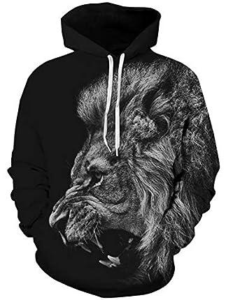 TUONROAD Hoodie Hombre Funny León 3D Impreso Negro Sudaderas con Capucha Ligero Unisex Sweatshirt Confortable Pullover Colorido Manga Larga Sweater Hoody con Bolsillos Cordón S-M