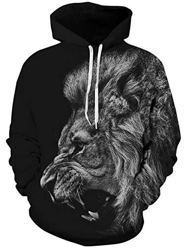 TUONROAD Sudadera con Capucha Hombre Novedad León 3D Impreso Negro Hoodie Mujer Ligero Gym Sweatshirt Confortable Pullover Colorido Manga Larga Sweater Hoody con Bolsillos Cordón L-XL