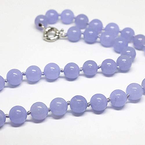 N-B Special Purple Jade Stone Cyperus Jade Love Collar 8, 10, 12 mm Cartucho de tóner de Cuentas Redondas púrpura Sepia Aniversario Regalo Joyería 18 Pulgadas