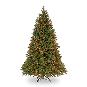 National Tree Company 'Feel Real lit Artificial Christmas Tree, Downswept Douglas Fir – 6.5 ft Includes Pre-strung multicolor Lights, feet, Green