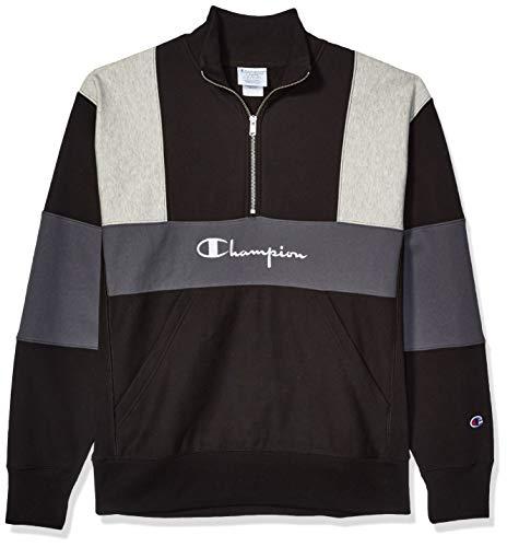 Champion LIFE Men's Reverse Weave Colorblock 1/2 Zip Mock Neck, Black/Oxford Grey/Stea, Medium