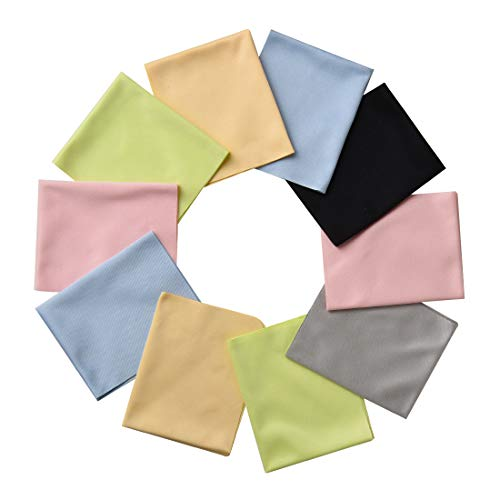 """12 Pack Assorted Colors Microfiber Cleaning Cloths - Cleans Lenses, Glasses, Screens, Cameras, iPad, iPhone, Eyeglasses, Cell Phone, LCD TV Screens and More(5.76.8"""" )"""