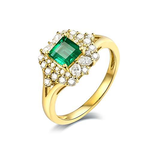 Beydodo Anillos Mujer de Boda,Anillo de Oro Amarillo 18K Mujer Oro Verde Cuadrado Esmeralda Verde 0.59ct Diamante 0.55ct Talla 18,5(Circuferencia 58MM)