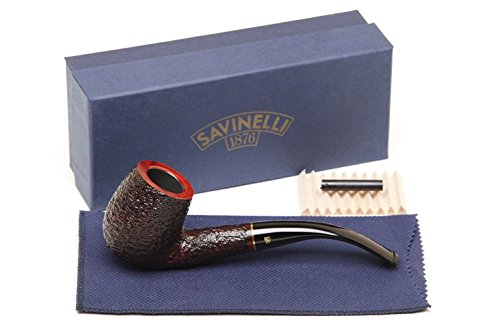 Savinelli Italian Tobacco Smoking Pipes, Roma Rusticated 606 KS 6mm