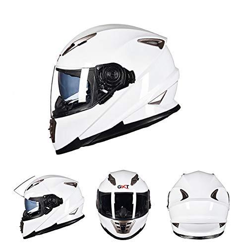 Goolife Moto Crash Casco Modular Alta Seguridad-GXT Full Face Racing Casco De Moto con Anti-Niebla Doble Lente Cuatro Estaciones Universal para Adultos Unisex