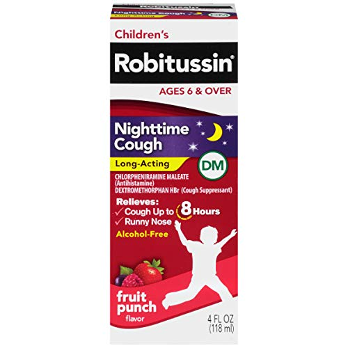 Children's Robitussin Nighttime Cough Long-Acting (4 Fl. Oz, Fruit Punch Flavor), 8-Hour Cough Suppressant, Alcohol-Free, Ages 4+