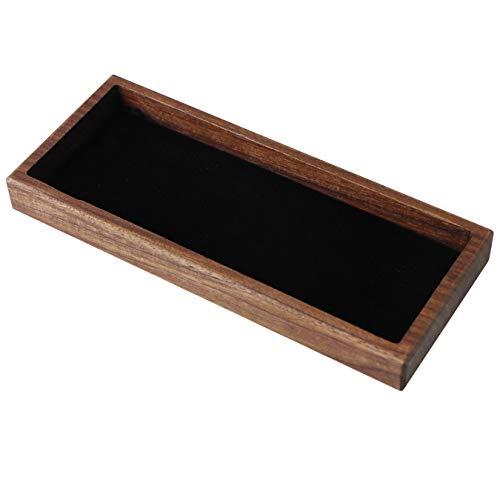 aufodara Stiftablage Holz Stiftschale Münztablett Schreibtischablage Briefpapier Aufbewahrungsbox für Mitarbeiter, Kunden und Geschäftspartner, Geschenk (Braun/Nussbaum Holz)