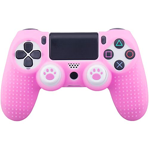 MXRC Silicone Rubber Cover Skin Case x 1 Anti-Slip Studded Dots Customize for PS4/SLIM/PRO Controller x 1(Pink) + Cat Paw Thumb Grips x 2