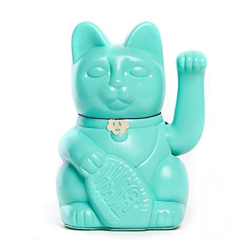 Gato de la Suerte chino. Lucky Cat. Maneki Neko. COLOR TURQUESA 12x9x18cm