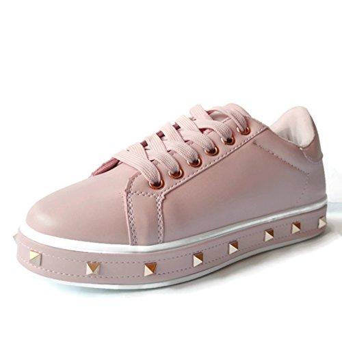 Sneakers Color Rosa con Tachuelas de Pinchos Dorados, Bambas, Nueva Temporada (38) (Ropa)