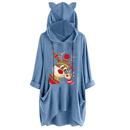 Dosoop Womens Long Sleeve Pocket Tops, Christmas Reindeer Print Hoodie Sweater Sweatshirt Hooded Pullovers Blouse Clothes