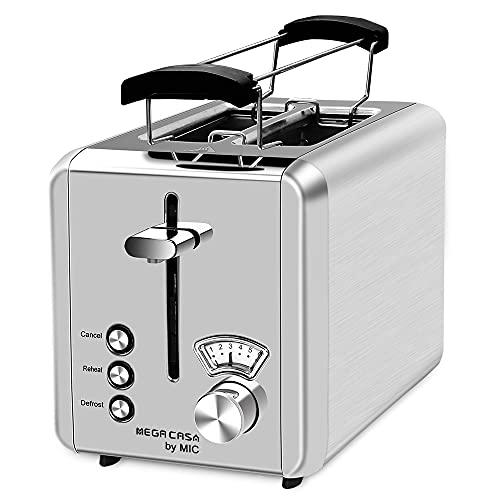 Toaster Edelstahl 2 Scheiben Toaster mit Brötchenaufsatz Testsieger 6 Einstellbare Bräunungsstufen Abbrechen/Aufwärmen/Auftauen Funktion High-Lift Krümelschublade, Silber 900W