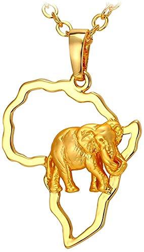 YOUZYHG co.,ltd Collar de Color Dorado, joyería de Mapa Africano, Hombres y Mujeres de la Suerte, Collar con Colgante de Animal de Elefante étnico Africano, 55Cm