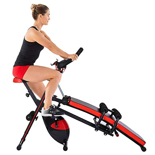 Combination Fitness Machine, Multifunction Home Exercise Bike, Sit Up Workout Bench, Foldable Exercise Bike with Arm Workout Resistance Bands 550lb Capacity (from US. 550lb, 59 X 15 X 49 Inches)