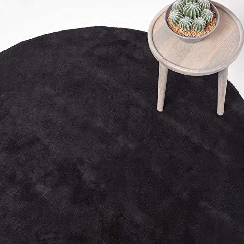 Homescapes runder Kurzflor-Teppich/Bettvorleger, getufteter Baumwollteppich, 70 cm, schwarz