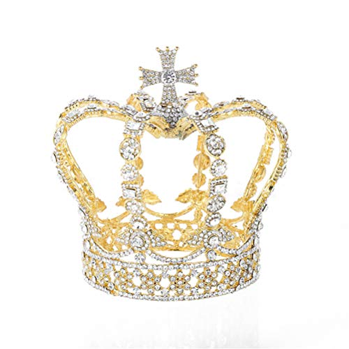 Panpan Kreuz Crown Barock Braut Hochzeit Crown Royal Queen König Tiara-Geburtstags-Party...