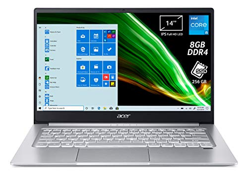 Acer Swift 3 SF314-59-57B2 Pc Portatile, Notebook con Processore Intel Core i5-1135G7, RAM 8 GB DDR4, 256 GB PCIe NVMe SSD, Display 14' FHD IPS LED LCD, Intel Iris Xe, Windows 10 Home, Silver