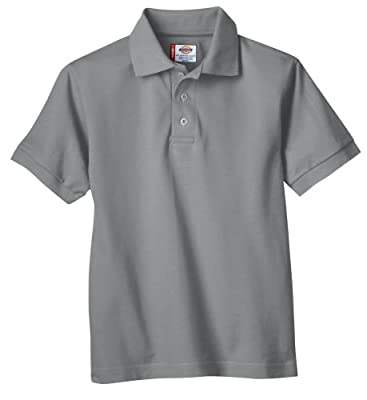 Dickies Big Boys' Short Sleeve Pique Polo Shirt, Heather Gray, Large (14/16)