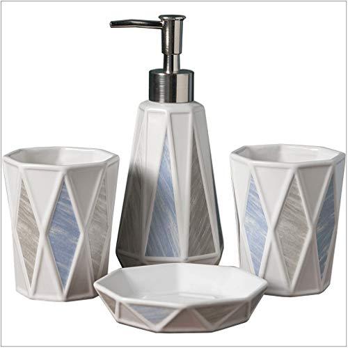 Dispensador de jabón de mármol, dispensador de jabón y bomba de ducha rombo 4 piezas, juego de baño de 300 ml y jabonera, 2 dispensadores de loción (color: juego de baño de 4 piezas)