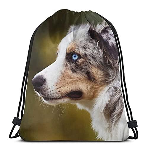 Mochila unisex con cordón, con diseño de perro y amiga, bolsa de cincha de poliéster, impermeable, para deporte