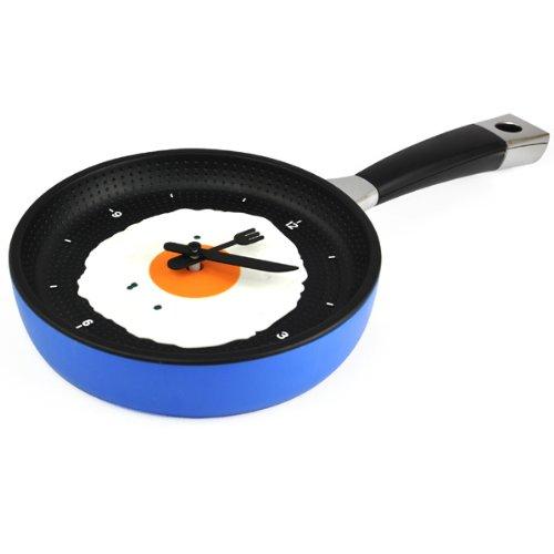 Gleader Sarten Reloj con Huevo Frito - Novedad Hanging Kitchen Cafe reloj de pared de la cocina - Azul