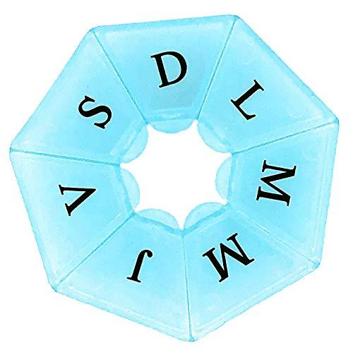 MovilCom® Pastillero semanal español transportable 7 compartimentos 7 días pastillero organizador semanal 1 toma diaria, estuche planificador semanal de pastillas-Azul