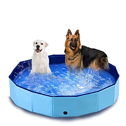 PAWISE Swimming Pool for Dogs Outdoor Foldable Pet Dog Bath Tub Collapsible Puppy Pools for Outside (47'' X 12'')