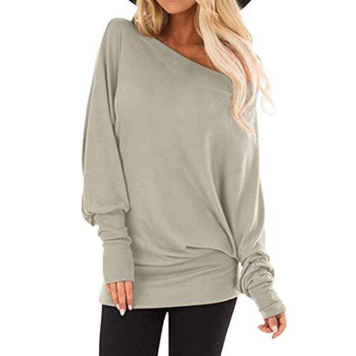 ZGRNPA Damen Langarm Tops One Off-Shoulder Shirts Baggy Batwing Top Bluse Damen Loose Cold Shoulder...
