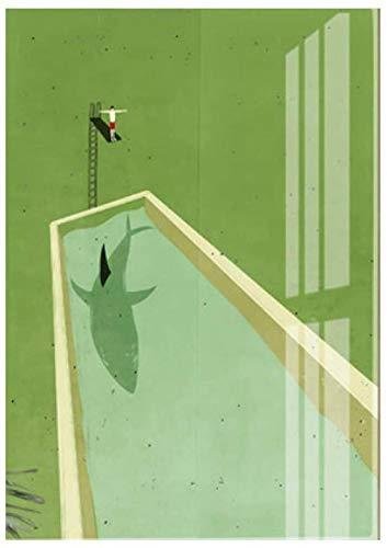 Pintura en lienzo de buceo con tiburón verde abstracto, carteles impresos, imágenes artísticas de pared para la decoración del hogar de la sala de estar, 50x70cm sin marco