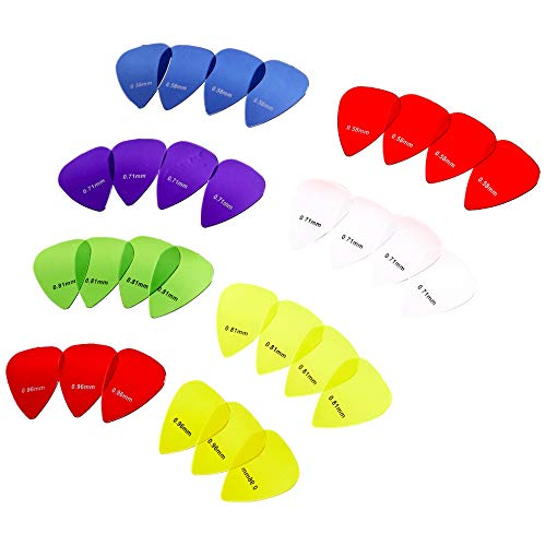 Amazon Basics - Púas de guitarra de colores transparentes, de policarbonato, 30 piezas