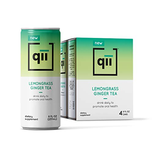 qii Lemongrass Ginger Tea - Guilt-Free All Natural Tea, Tooth-Friendly, Neutral pH, Sweetened with Xylitol, Dentist-Approved, Organic, Vegan and Gluten-Free, 4 pack - 8 Oz cans...