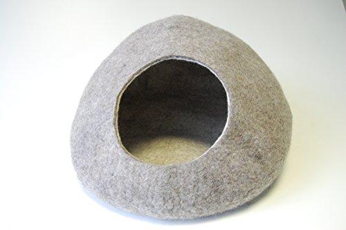 Himalaya Katzenhöhle / Bett / -Kokon aus gefilzter Wolle (handgefertigt in Nepal, hellgrau gesprengelt)