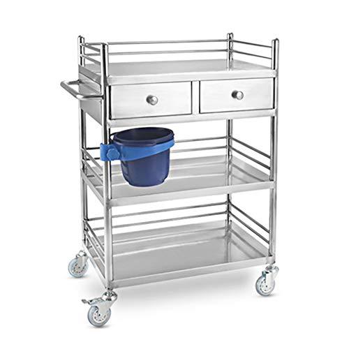 Carrelli per centri medici Carrello multiuso da 100 kg / 220 libbre con 2 cassetti, carrello in acciaio inossidabile a 3 strati, 150 kg / 330 libbre d