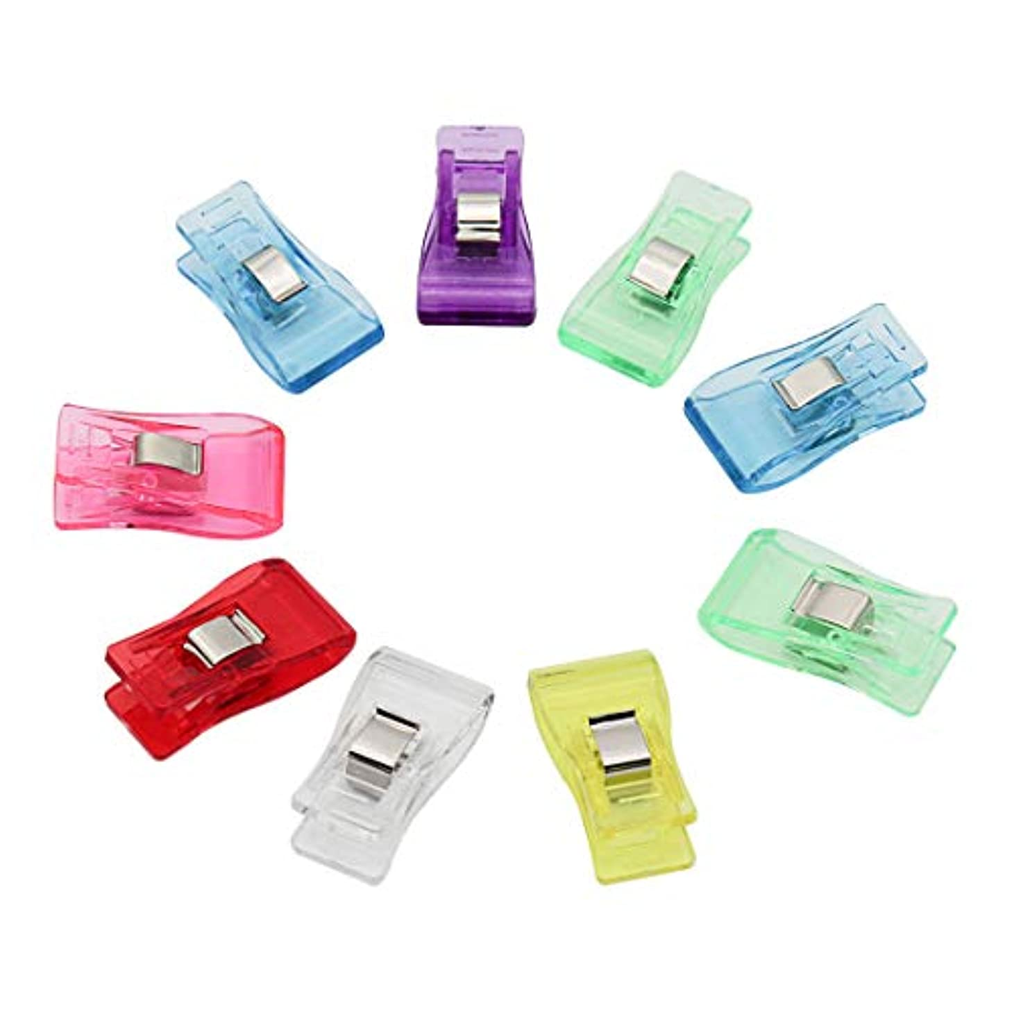 PVC Plastic Medium Clips for Patchwork Sewing DIY Crafts, Quilting Blinding Clip Retail 7 Colors Mixed,100PCS