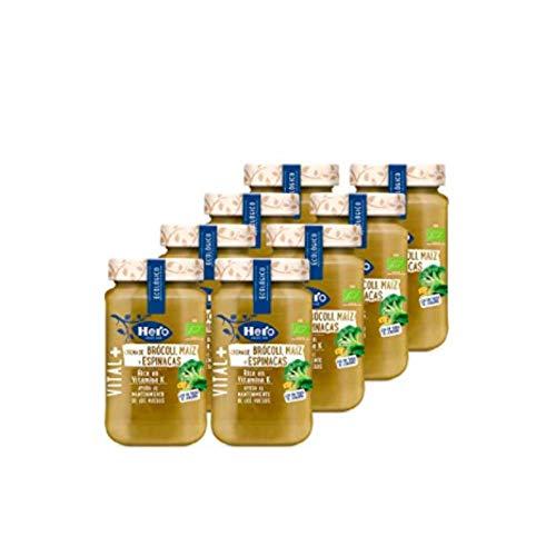 Hero - Crema de Brócoli, Maíz y Espinacas, Rica en Vitamina K, Ecológica - Pack de 8