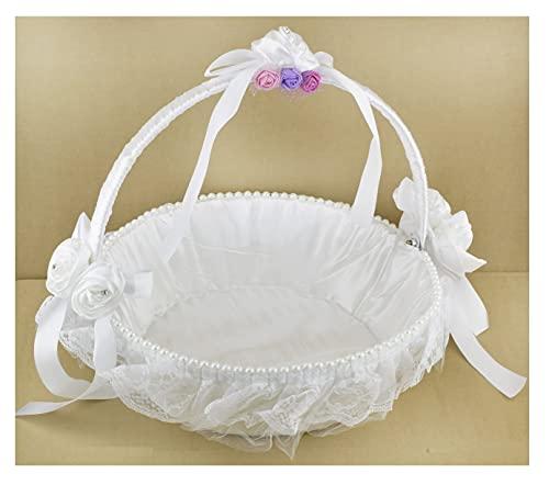 Panier Blanc en Satin Corbeille Cadeaux Déco Accessoire Mariage, Henné, Fiançailles,Cérémonie Baptême Diamètre 33 cm…