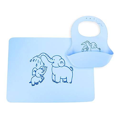 Tovaglietta per Neonati in Silicone, Commestibile Tovaglietta per Bambini in Silicone Pieghevole Arrotolare Tappetino Isolante Impermeabile per Bambino (Bavaglino blu)