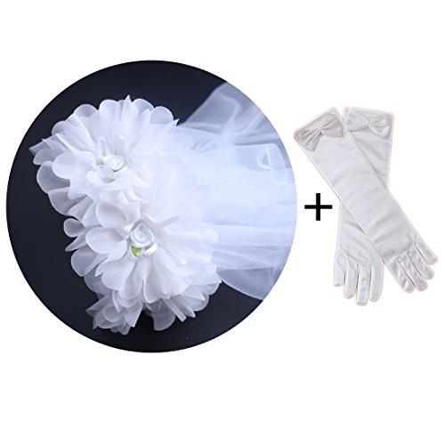 KimmyKu White Floral Wreath Veil Crown Garland Girls First Communion Costume Accessories