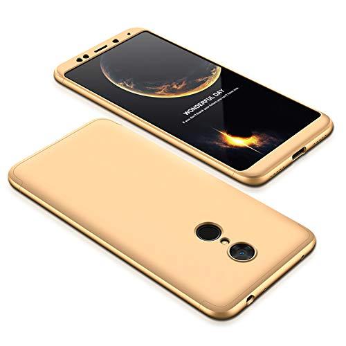 JMGoodstore Funda Compatible Xiaomi Redmi 5,Carcasa Redmi 5,360 Grados Integral Ambas Caras+Cristal Templado,3 in 1 Slim Dactilares Protectora Skin Caso Cover Oro