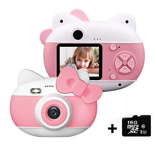 le-idea Cámara para niños Cámara de Fotos Digital 12MP Recargable Cámara 1080P HD Video cámaras para Niños Niñas con Zoom Digital 4X con Tarjeta de 16GB TF, 2' IPS, os Regalos Cumplea, Navidad (Rosa)