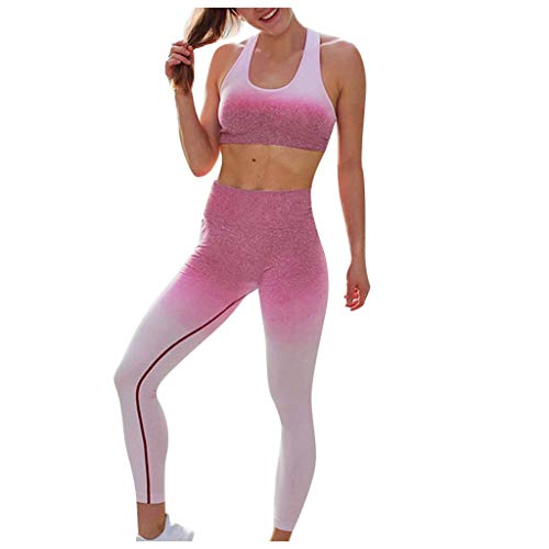 Find Discount Workout Leggings and Sports Bra Set - 2 Pieces Gradient Workout Fitness Set - High Wai...