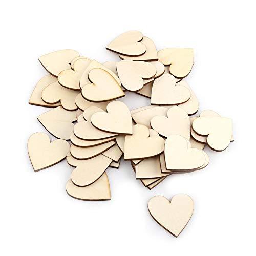 Akozon Amor de Madera en Forma de corazón Adorno para Bodas Placas DIY Art Craft Tarjeta de Amor Haciendo 10mm-80mm(40mm 50pcs)