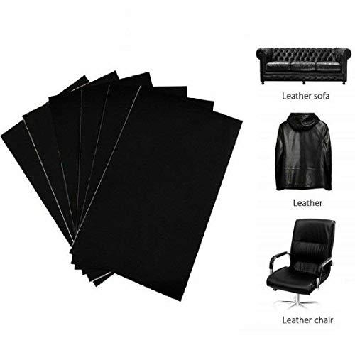 uyoyous 6er Leder Reparatur Patch, 15 x 25 cm Leder Reparatur Set, Lederaufnäher Selbstklebende Patch für Couch Sofa Autositz Handtasche Zubehör - Schwarz