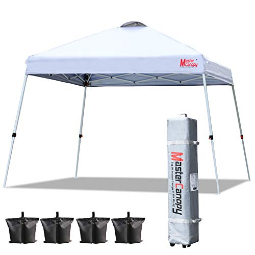 MASTERCANOPY Slant Leg Pop Canopy Tent Instant 10'x10' Outdoor Canopy Easy Set up Folding Shelter (White)