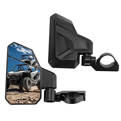 "KEMIMOTO UTV Side Mirrors for 1.6""-2"" Roll Bar, 3 Adjustment Methods UTV Mirrors with Convex Mirror Compatible with Polaris RZR, Pioneer, Can Am Maverick X3, Kawasaki Teryx- 1 Pair"