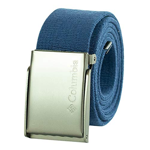 Columbia Men's Military Web Belt-Adjustable One Size Cotton Strap and Metal Plaque Buckle, Blue