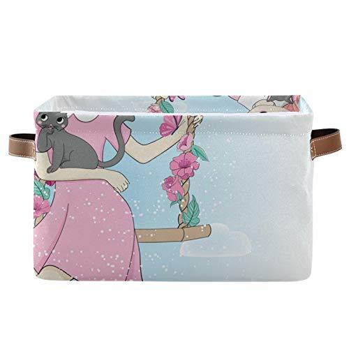 Cesta para lavar la colada con gato con columpio plegable para la colada, cesta plegable para la colada, cesta de lavandería portátil (38 x 28 x 24 cm) - 1 paquete